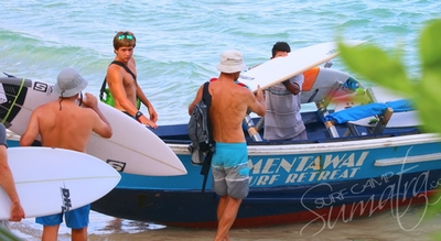 Loading up for a surf