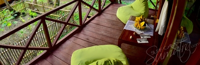 Tree house balcony with bean bags
