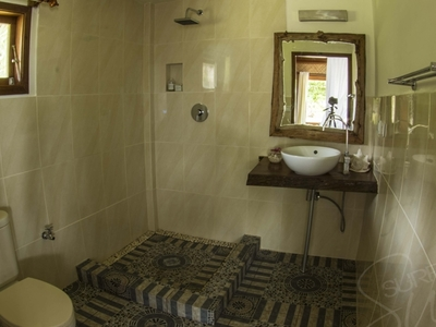 Private bathroom with hot or cold shower, toilet and basin