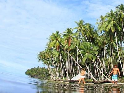 Shoreline at surfing village