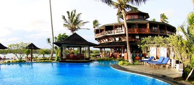 Poolside at the Mentawais premier resort