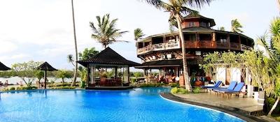 Poolside at the Mentawais premier resort