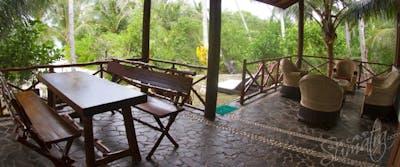 Outside shaded veranda