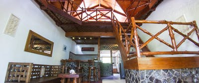 The impressive interior of villa mentawai
