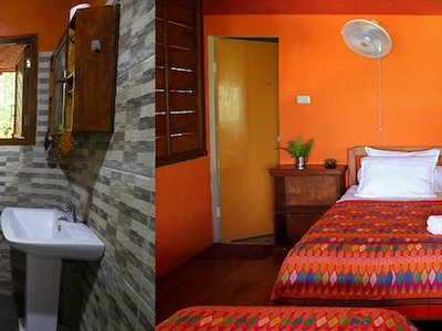 private bathroom and private room with double bed