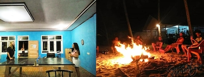 Ping pong and evening beers around the fire