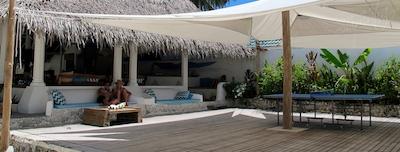 Yoga deck and restaurant