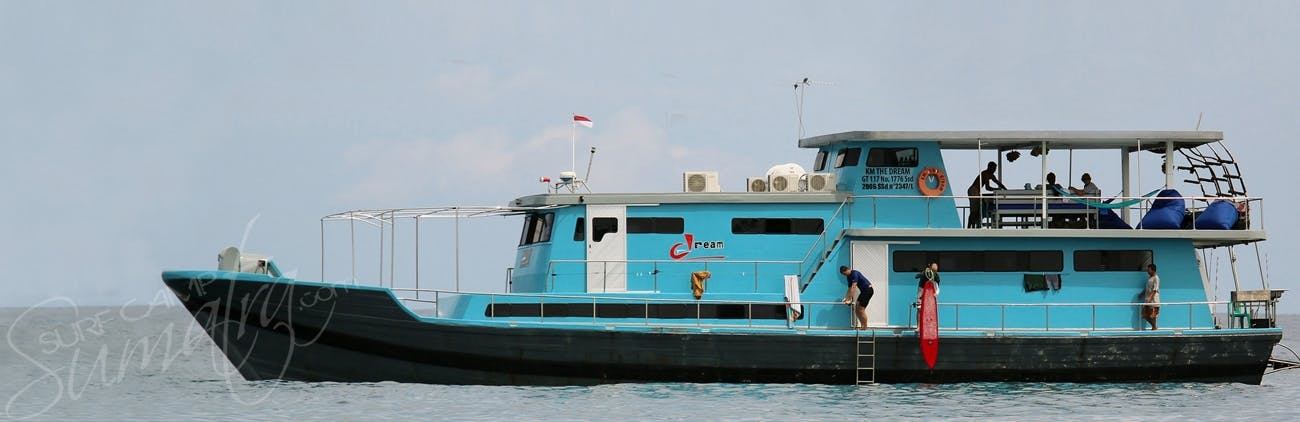 Built in 2009 this elegant surf charter hosts 7-12 guests
