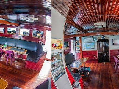The stylish interior dining area