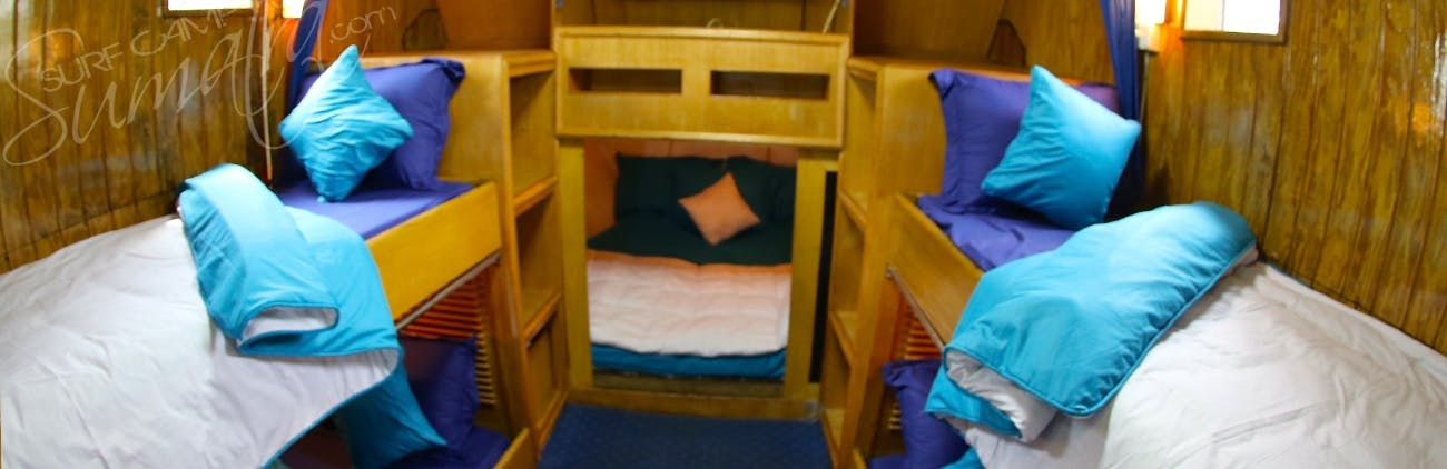 Dormitory cabin looking into the double bed