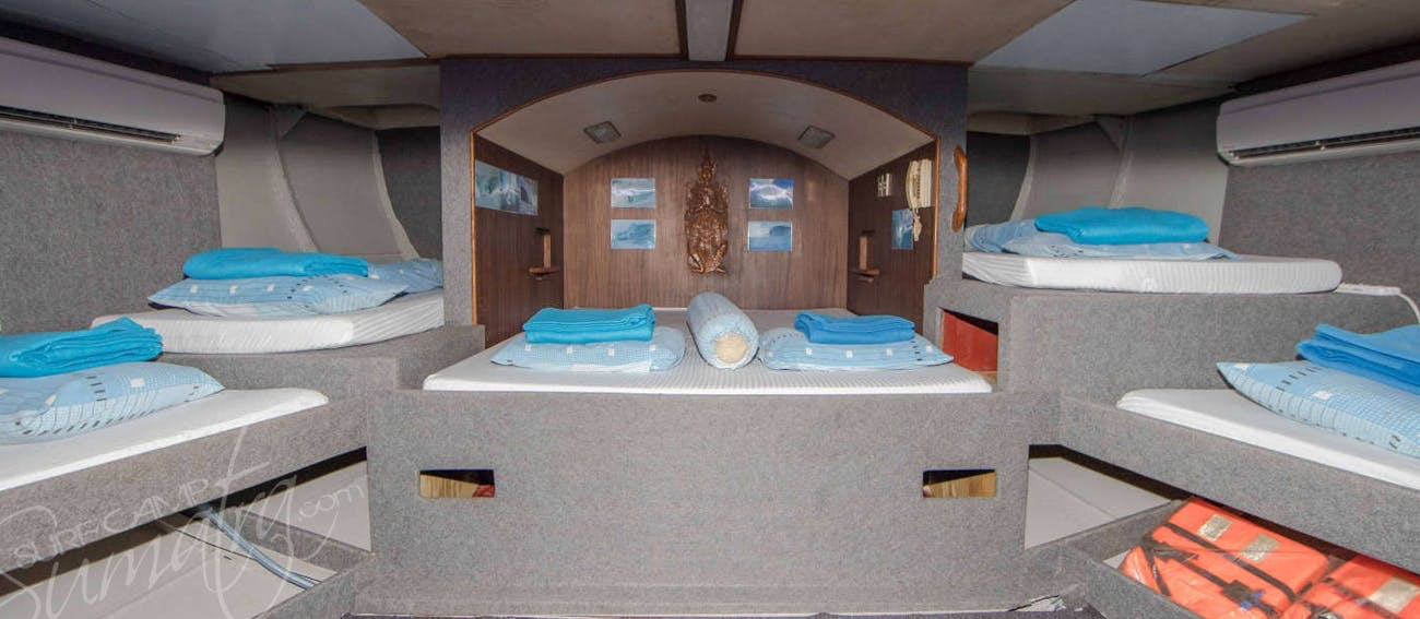 With the exception of one cabin each have their own private bathroom and ac
