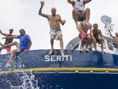 Jumping for joy aboard the Seriti