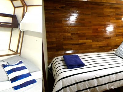 Some of the finer accommodation you will find aboard a surf charter