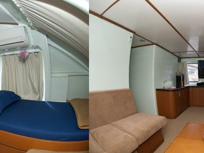 Private cabin pictured left and interior lounge pictured right