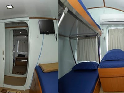 Triple ac cabins include private TV and DVD player in each room