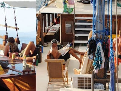 Hanging on the fore deck