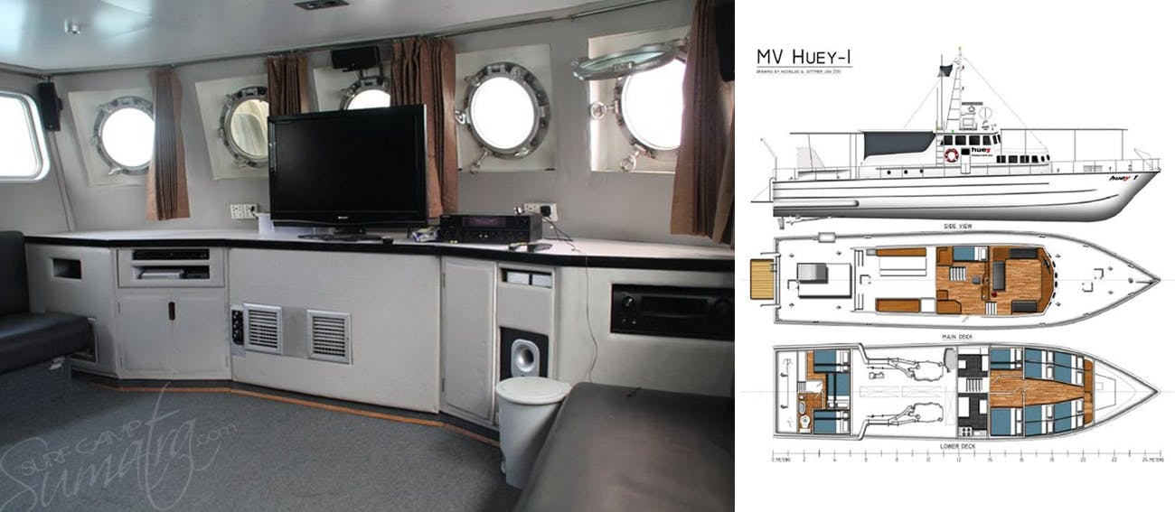 Saloon and plan view of the Huey