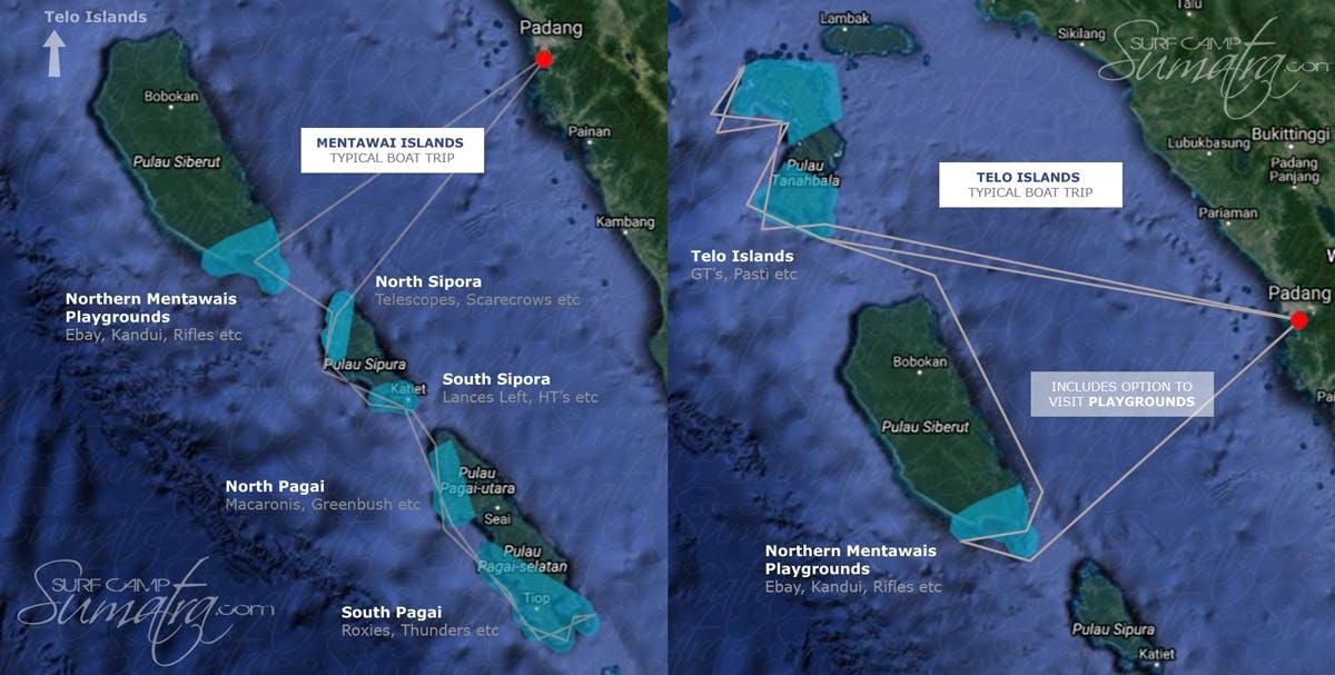 mentawais and telos surf map